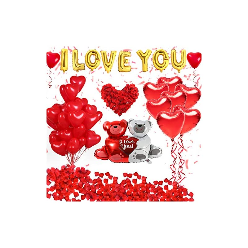 silk flower arrangements golray 40 pack i love you balloons and heart balloons kit with 1000 pcs dark-red silk rose petals wedding flower decoration love-bear red heart balloons for valentine day party decorations