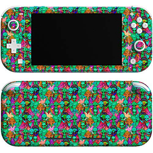 Lex Altern Skin Decal Compatible with Switch Lite 2019 Console Cover Game Boho Wrap Vinyl Full Body Green Aliens Controller UFO Trippy Protective Psychedelic Sticker Buddha nlh148