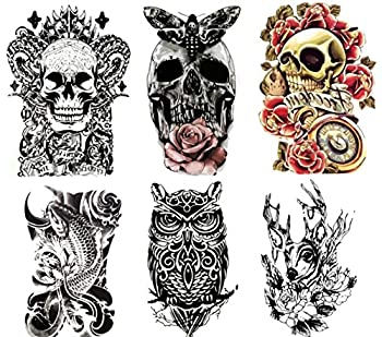 """Large Non-Toxic Temporary Tattoos   Set of 6 Fake Tattoos  Skull Koi Fish Owl Rose Butterfly & Deer    6"""" x 8"""" Removable Body Art Tattoos"""