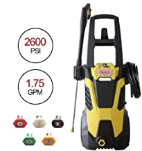 Realm 2600PSI 1.75GMP 14.5AMP Electric Pressure Washer with Brushless Induction Motor,Spray Gun,5 Spray Tips,Built in Soap Dispenser | Extra Low Sound | Power Efficiency 55lbs, Yellow Black