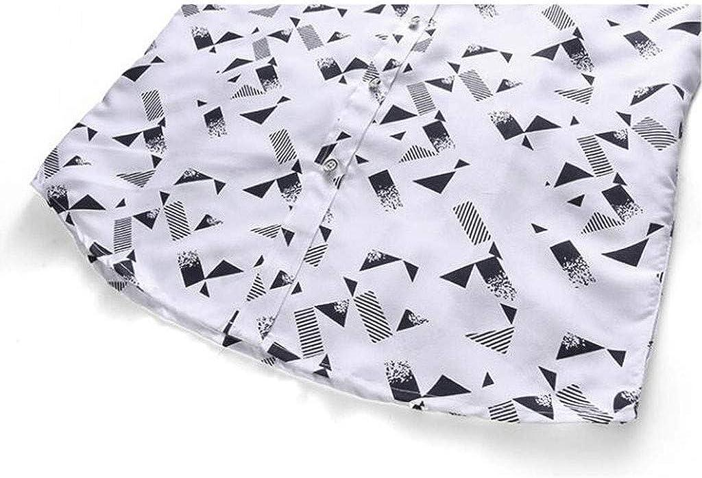 MODOQO Men's Dress Shirt Slim Fit Turn-Down Collar Paisley Printed Short Sleeve Button Down Shirts