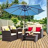 LayinSun 4 Piece Outdoor Patio Furniture Sets, Wicker Conversation Sets, Brown Rattan Sofa Chair with Cushion for Backyard Lawn Garden
