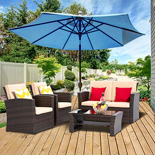 LayinSun 4 Piece Outdoor Patio Furniture Sets, Wicker Conversation Sets, Brown Rattan Sofa Chair with Cushion for Backyard Lawn Garden