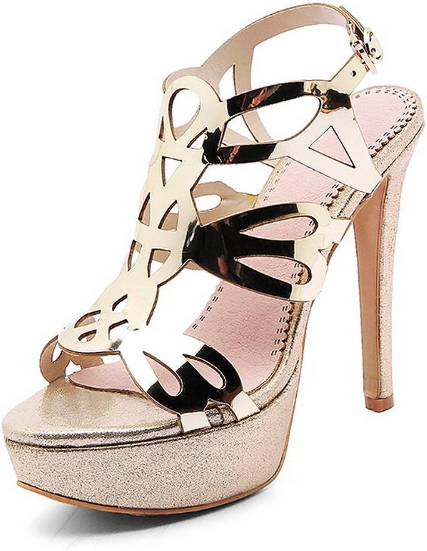 AdeeSu Womens Metal Buckles Spikes Stilettos Platform Suede Heeled Sandals SLC03605