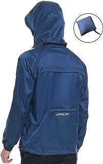 KPSUN Men's Lightweight Waterproof Raincoat Outdoor Packable Hooded Windbreaker Rain Jacket