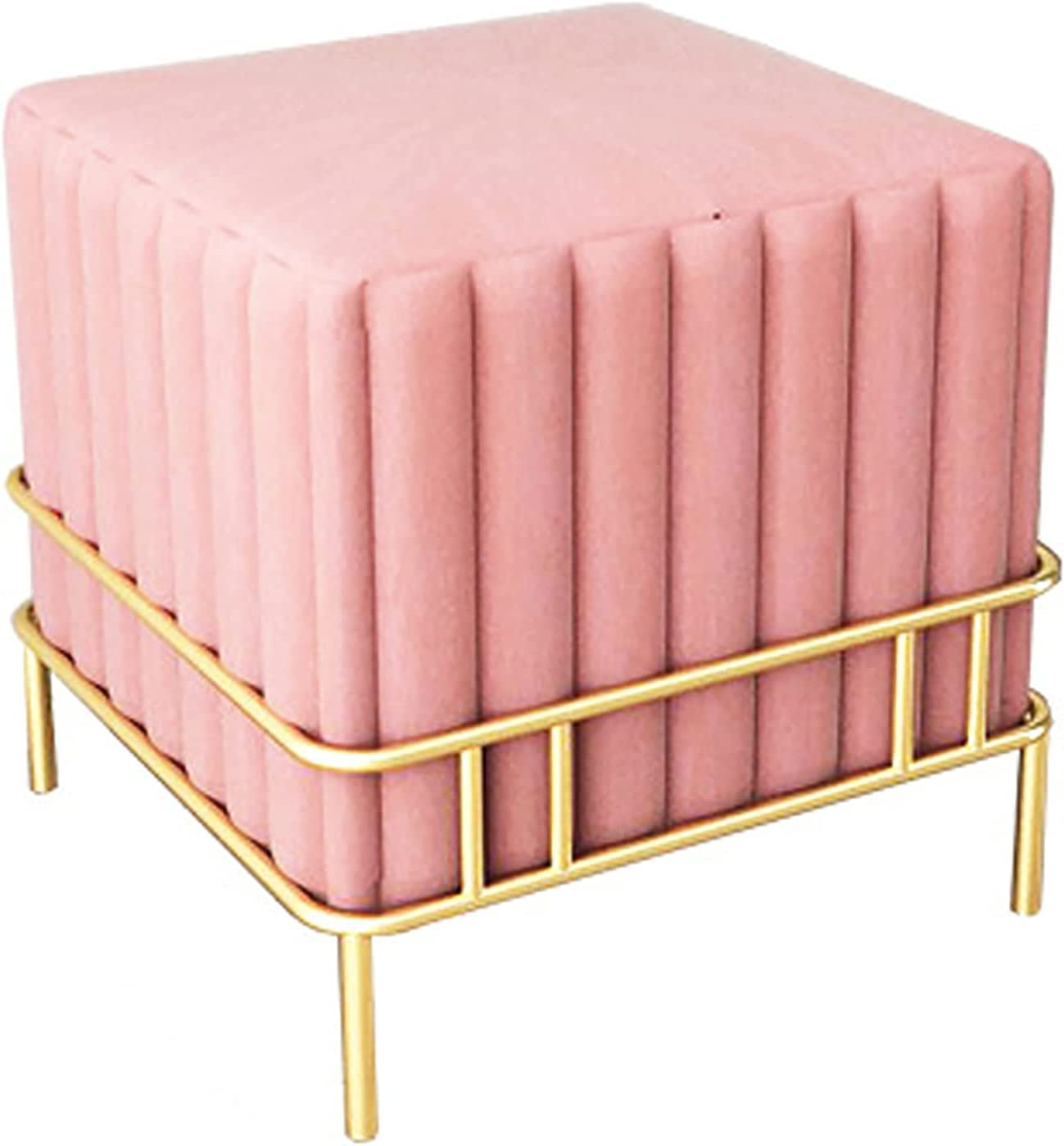 ZHAORU Max 88% We OFFer at cheap prices OFF Cube Flannel Footstool Metal Modern Simple Uph Legs Style