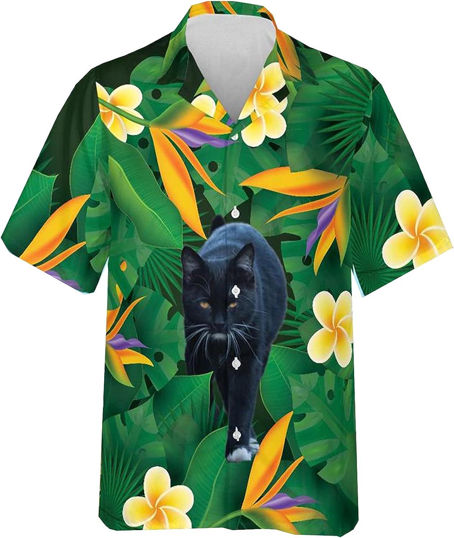 Cat Lover Hawaiian Shirts for Men - Summer Button Down Mens Hawaiian Shirts Short Sleeve Series 83