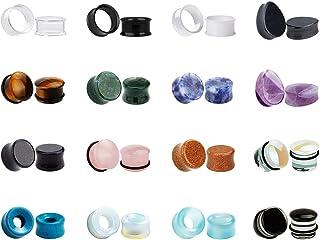 KUBOOZ 32pcs set Mixed Stone Acrylic Glass Ear Plugs Tunnels Gauges Stretcher Piercings