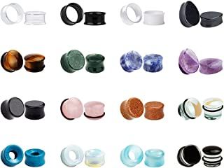 32pcs Set Mixed Stone Acrylic Glass Ear Plugs Tunnels Gauges Stretcher Piercings