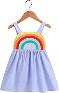 vivimodel Casual Infant Toddler Baby Girls Rainbow Dress Outfits Cotton Long Sleeve Striped Skrit Dress Autumn Clothes Playwear