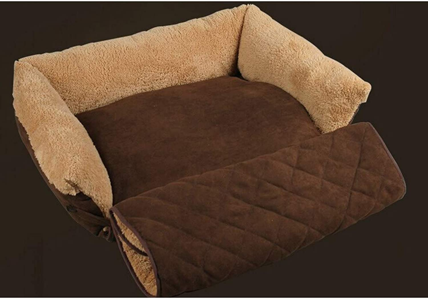 Pet Dog Puppy Suede Fabric Soft Cotton Bed House Nest  Size XL (Brown)