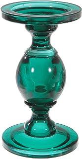 "Indian Handicrafts Glass Pillar (Teal) (7"") Candle Holder"