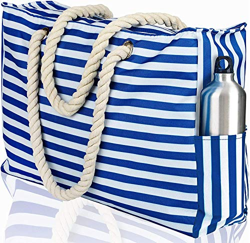 Beach Bag XL. 100% Waterproof (IP64). L22 xH15 xW6 w Cotton Rope Handles, Top...
