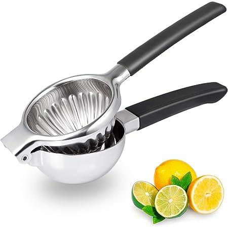 Exprimidor de limón de acero inoxidable 304, exprimidor manual de frutas, perfecto para naranjas, limones grandes y limas, prensa de metal y limón con cuenco grande de 3.34 pulgadas y mango de silicona negro