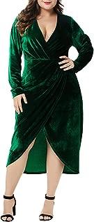 Women's Plus Size High Waist Velvet Dress Sexy Faux Wrap Pencil Cocktail Solid Split Slim Midi Dresses