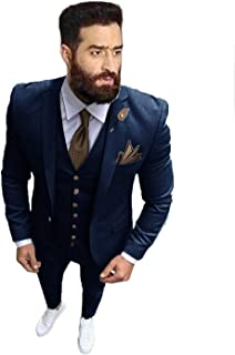 Men's Slim Fit 3 Piece Suit Dinner Tuxedo Wedding Blazer Jackets Vest&Trousers