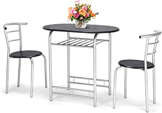 n-bright shop Table and Chairs Dining 3Pcs Set w/1Table Compact 2 Chairs Metal Frame and Shelf Storage Bistro Pub, Home Kitchen Breakfast (Black)