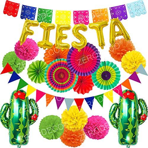Zerodeco Multicolore Papier Pompoms Fiesta et Cactus Ballons Eventail Boule Banderole en Triangle Ventilateur de Guirlandes fête d'anniversaire Fiesta Mexicain Carnaval Cinco De Mayo Party