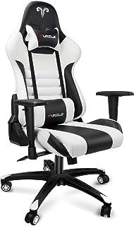 Furgle Office Gaming Chair Silla de Carreras con Respaldo Alto y reposabrazos Ajustables 4D, Piel sintética, Silla de Videojuegos giratoria con Modo balancín (Blanco & Negro)