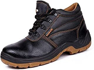 Hillson Workout Leather Safety Shoes Size_11 (Black) Pack Of 2
