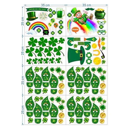 Juego de adhesivos para ventana del día de San Patricio para fiestas, decoración de fiesta irlandesa