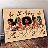 Black Girl Wall Art African American Modern Wall Art Print Its Okay To Make Mistake Poster Black Girls Portrait Wall Art Decor African Girls Quotes Posters Vintage Afro Women Artwork for Living Room