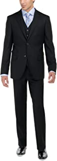 Men's Two Button Bird's Eye 3 Piece Modern Fit Vested Suit