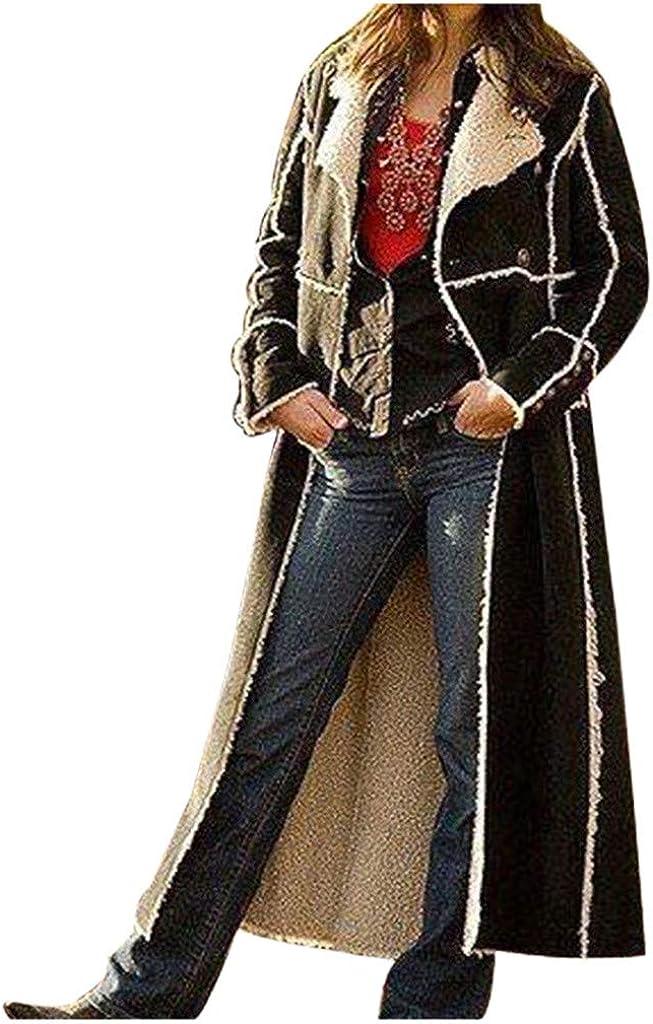 Women Credence Long Biker Trench favorite Coats Casual Fleece Fur Lapel Faux Black