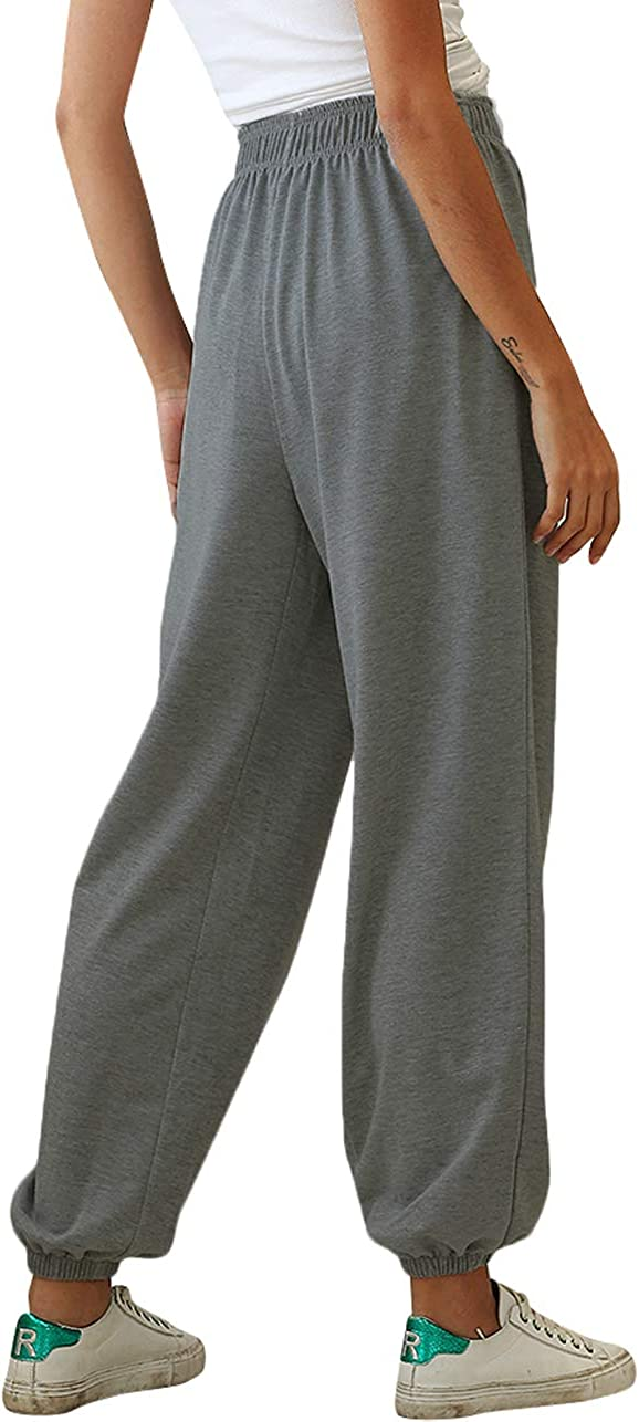 Glomeen Womens High Waist Sweatpants Drawstring Workout Joggers Yoga Pants Loose Lounge Pants with Pockets