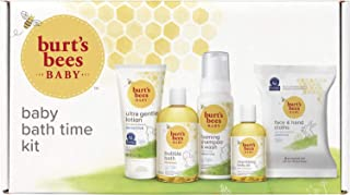 Burt's Bees Baby Bath Time Kit With Ultra Gentle Lotion, Bubble Bath, Foaming Shampoo & Wash, Nourishing Baby Oil, and Fac...