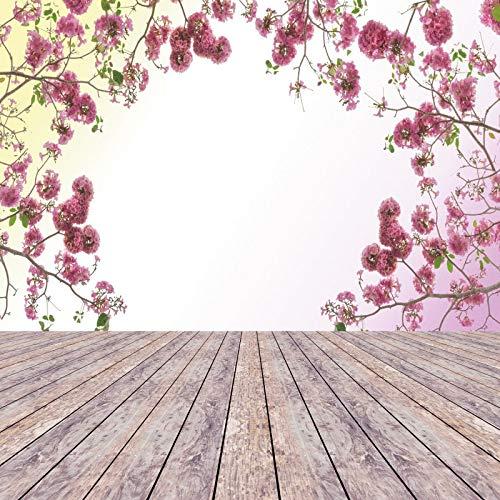 Frühlingsgrüner Baum hinterlässt Holzboden Tupfen Baby Fotografie Hintergründe Fotohintergründe Fototermin Fotostudio A6 10x10ft / 3x3m