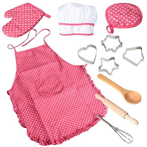 ThinkMax Set da Cuoco 11 Pezzi, Kit da Gioco Costume da Cucina, Grembiule da Ragazza con Cappello da Cuoco, Guanto da Cucina e formine per Biscotti