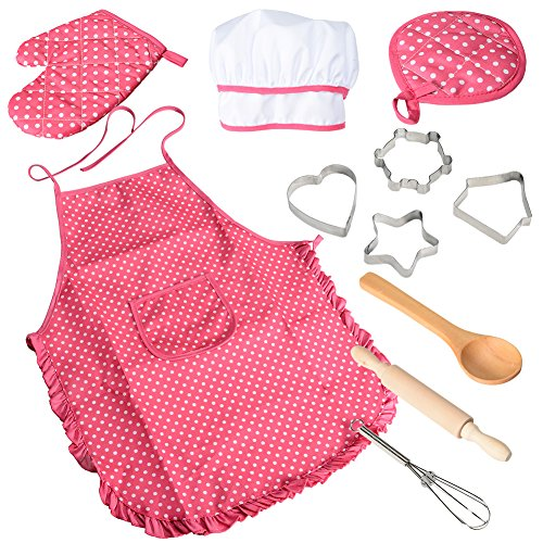 Acekid Chef Set for Kids,11pcs Kitchen Costume Role Play Kits, Girls Apron with Chef Hat,Cooking Mitt and Cookie Cutters (Rose red)