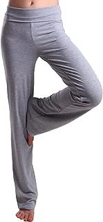 Women's Color Block Fold Over Waist Yoga Pants Flare Leg Workout Leggings