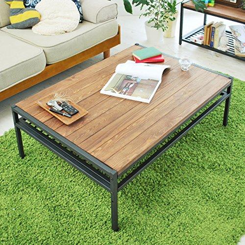ガーデンガーデン アイアン*ウッド センターテーブル 95cmタイプ 幅95cm×奥行68.5cm×高さ35cm パイン材 オイル仕上げ PT-950BRN