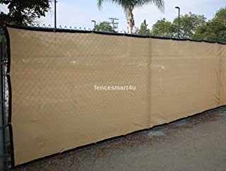 6' X 50' Tan Beige UV Rated 85% Blockage Fence Privacy Screen Windscreen Shade Cover Fabric Mesh Tarp W/Grommets (145gsm)