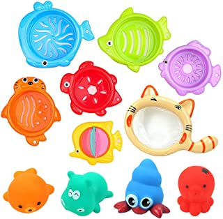 Anniston Kids Toys, 11Pcs Kids Baby Bath Shower Floating Squeeze Sound Cute Animal Fishing Toy Set Baby Toys Perfect Fun T...