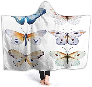 prunushome Hooded Blanket Butterfly Vintage Summer Isolate SPR Art Watercolour Design Kids Huggable Pillow and Blanket Perfect for Pretend Play, Travel, nap time, 80W by 60H Inches