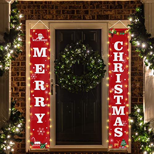 Crenics Merry Christmas Porch Sign Banner with Led String Lights, Red Christmas Front Door Banner, Xmas Hanging Decorations for Home Outdoor Indoor Wall Decorations Supplies