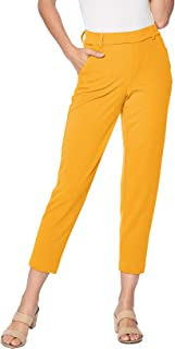 One5One Stretch Pull-on Casual Cropped Work Trouser Office Dress Pants Pockets
