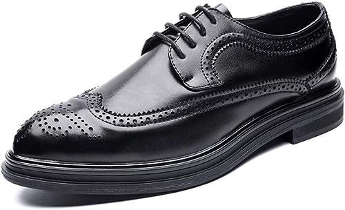 XHD-Chaussures Simple Affaires Oxford Hommes Décontracté Décontracté Style Britannique Bas-Haut Classique Sculpture en Dentelle Brogue Chaussures (Couleur   Noir, Taille   43 EU)