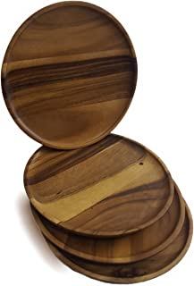 roro Round Acacia 12 Inch Wood Serving Plates and Chargers, Set of 4