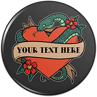 Personalized Custom 1 Line Snake Heart Tattoo Style Compact Pocket Purse Hand Cosmetic Makeup Mirror