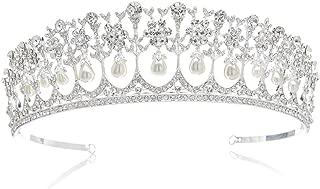 SWEETV Royal Pearl Tiara Vintage Rhinestone Crown Bridal Jewelry Wedding Hair Accessories, Silver