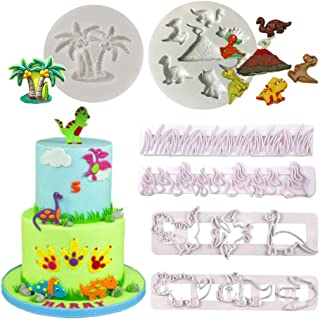 Dinosaur Molds Cutters - 6Pcs Grass and Dinosaur Cookie Cutters Dino Fondant Cake Decorating Mold for Cake Toppers Sugar Craft