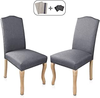 Dining Chairs Set of 2 Solid Wood Linen Rivet Restaurant Stool Armless Room Chair Accent Solid Wood Modern Style Living Home Furniture (Grey 02)