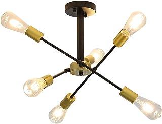 Moderne Plafonnier Industriel en Metal, 6 Lampes E27 LED Lumière Plafond, Lustre Suspension Vintage DIY Pour Salon Cuisine...
