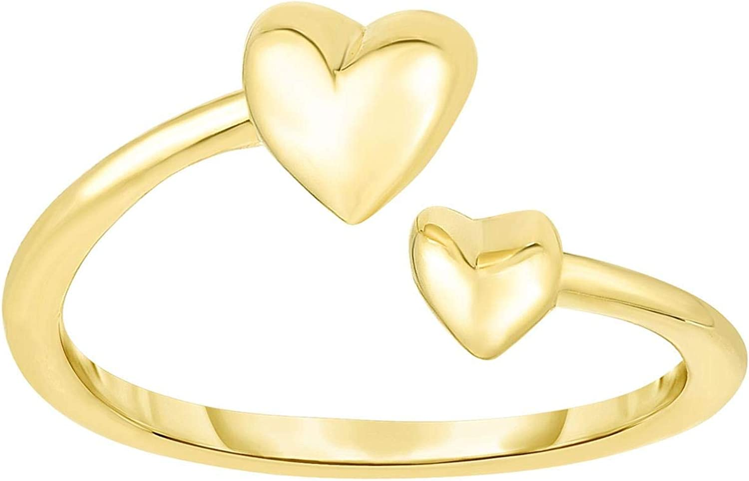 14K Yellow Gold 9mm Polished Bypass Heart Toe Ring