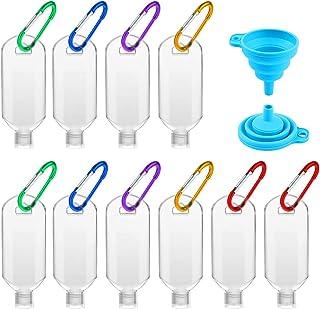 Bottiglie da Viaggio da 50 ml, Bottiglie Riutilizzabili Contenitori da Viaggio Trasparenti con Moschettone, Bottiglie di Plastica Vuote per Lozione Disinfettante per le Mani da Viaggio (10 Pezzi)