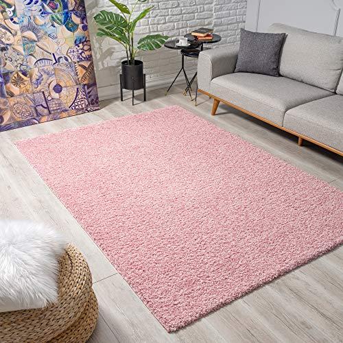 Impression Wohnzimmerteppich - Hochwertiger Öko-Tex zertifizierter Flächenteppich - Solid Color Teppich Hellrosa - Größe 80x150